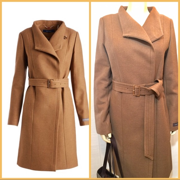 77ee119c8a1 Cole Haan Jackets & Coats | New Camel Belted Wool Blend Coat Nwt ...